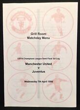 More details for man utd v juventus 1999 champions league menu manchester united treble season