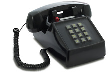 OPIS PushMeFon cable 1970s inspired fixed line push button telephone BLACK