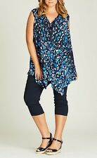 Plus Size Drape Blue Leopard Spot Animal Print Viscose Ladies Tunic Size 20