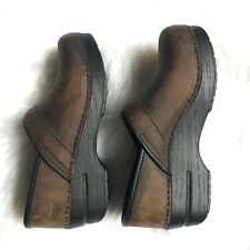 Dansko Professional Antique Brown Oiled Stapled Nursing Clogs - Women's Size 37