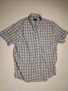 RALPH LAUREN SHORT SLEEVE BLUE CHECKED BUTTON DRESS SHIRT MENS XL