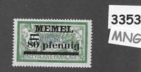 #3353  PF80  MNG stamp Sc25 1920 Memel / Lithuania / Prussia / Germany WWI