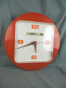 Pendule Horloge Murale vintage ORANGE - JAZ - Vintage Année 60 70 -fonctionne