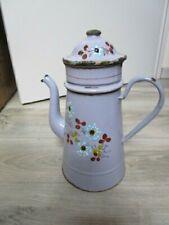 """Cafetière tôle émaillée rose décor floral relief épais """" enamelware coffee pot"""""""
