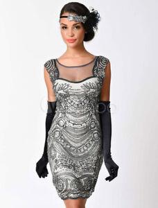 Great Gatsby Halloween Flapper Dress Costume 1920s Women's Vintage prom Dress