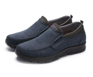 Mens Casual Wide Soft Sole Canvas Loafers Comfy Driving Moccasins Shoe Plus Size