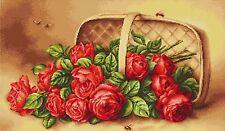 LUCA-S  B499  Panier de Roses  Kit  Broderie  Point de croix  Compté