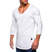 1XFashion Mens' Long Sleeve V Neck Cotton T-Shirts Fitness Classic Slim Fit Top