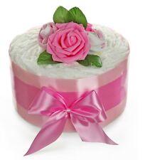 Windeltorte für Mädchen ROSENBLÜTE rosa - Geschenk zur Geburt Baby Party