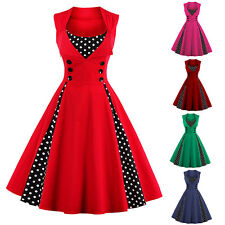 Plus Size Retro Polka Dot 50s 60s Rockabilly Pinup Housewife Party Swing Dresses