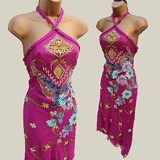 Karen Millen Oriental Vintage 3D Flower Embroidered Downton Cocktail Dress 10 UK