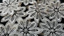 10 X White Star Flower Embroidery Patch Venise Lace Applique Dress Trim Craft