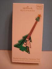 Hallmark Green Tree Guitar Ornament, ROCKIN' AROUND THE CHRISTMAS TREE 2012 mip