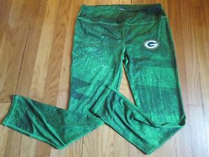 MAJESTIC WOMEN'S NFL GREEN BAY PACKERS PERFORMANCE COOL BASE YOGA PANTS SIZE M