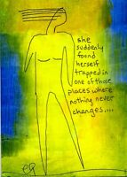 21021720 e9Art ACEO Abstract Figurative Outsider Art Painting Brut Text Words