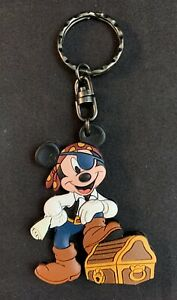 Vintage 1990s Disney Mickey Mouse Pirate Chest Rubber Keychain