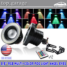 2X 3.5 inch RGB LED COB Projector Fog Light with Angel Eyes Halo Ring Car Truck
