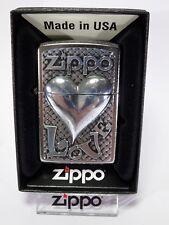 """Zippo """"Love Heart"""" - emblema - STREET cromado NUEVO Y EMB. orig. - #1131"""