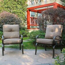 Set of 2 Outdoor Dining Chair Patio Club Seating Chair with Brown Cushions