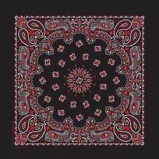 "Hav-A-Hank USA Made Cotton Paisley Bandanna 22""X22"" Black / White / Red"