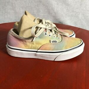 Vans Authentic OTW Youth Girls Size 1 Shoes Pink Yellow Blue Low Top Sneakers