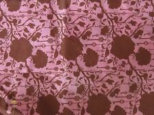 Pink & brown floral fabric material sewing keys roses novelty romantic chic