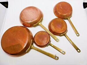 Vintage French Copper Saute Pans / Set of 5