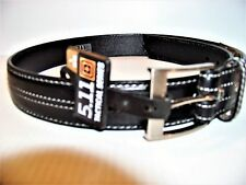 MENS NEW  5.11 TACTICAL STRAP LEATHER BELT SIZE 32 - 34 BLACK WHT STITCHING