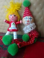 Vintage Wood Christmas Ornament Girl And Her Clown