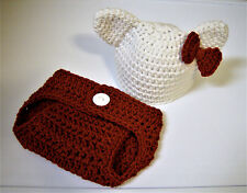 "Newborn Baby ""Hello Kitty"" Hat and Diaper Cover-Hand Crochet-Photo Prop"