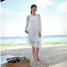 Women LONG SUN DRESS BOHO MAXI WHITE Lace Crochet HIPPIE GYPSY Ball Gown hOT#