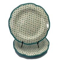 """Pioneer Woman 2 11""""Dinner Plates Polka Dots Scalloped Edges Teal/White Stoneware"""