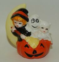 Vintage Porcelain Halloween Figurine Witch Ghost Girl in Suit on Jack-o-Lantern