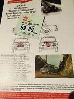 DECALS 1/43 RENAULT 8 GORDINI THERIER N°89 RALLYE MONTE CARLO 1969 WRC RALLY