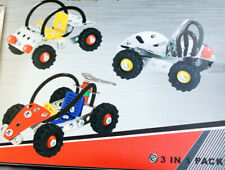 3 Model Kit Metal Construction Building Toy Set-Meccano Erector Compatible Parts