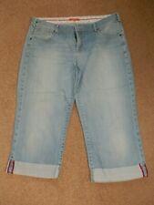 White Stuff Cotton Blend Blue Denim Calf Length Shorts    Size 16
