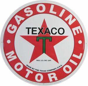 "Texaco Logo Lg 24"" Round Embossed Tin Metal Sign"
