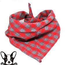 Bandana Check Dog Bandana Neckerchief Red & Grey Check