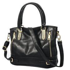 Vbiger Women's Zipper Shoulder Satchel Handbag Tote Bag (Black)