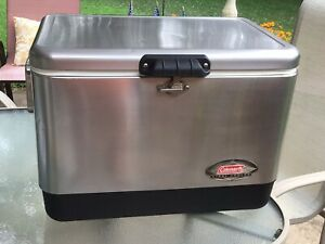COLEMAN 6150 54 Quart STAINLESS STEEL Belted COOLER ICE CHEST Camping Fishing
