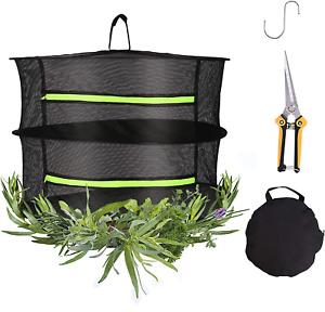 2-Layer Herb Drying Rack 16 Inch Hanging Mesh Net Dryer With Garden Scissor For