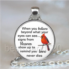 Cardinal Quotes Photo Tibet Silver Cabochon Glass Necklace Pendant#D72