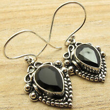 """OLD LOOK BIJOUX ! BLACK ONYX Dangling Earrings 1.5"""" inches ! 925 Silver Plated"""