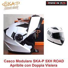 Casco Modulare Doppia Visiera SKA-P 5XH ROAD Bianco Lucido Taglia M 57/58 cm