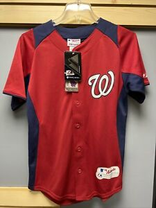 Washington NATIONALS Baseball Jersey YOUTH SZ L Majestic Cool Base No Number