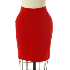 Donna Karan DKNY Red Velvet Pencil Skirt Above Knee Stretch Velveteen Size 2