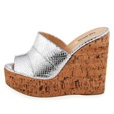 Women Cork Wedge Sky High Platform Slide Sandals High Heel Mules Black Silver