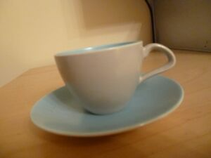VINTAGE POOLE POTTERY Coffee Cup and Saucer - Ice Green/Seagull Grey