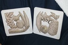 Pair Vtg Fruit Banana Pineapple Grapes kitchen wall plaques 50's Mcm Kitschy