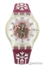 New Swatch Snow Pass PINK RING Genuine Leather Watch 38mm SUMK100 $80